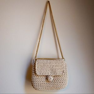 vintage white knit bag
